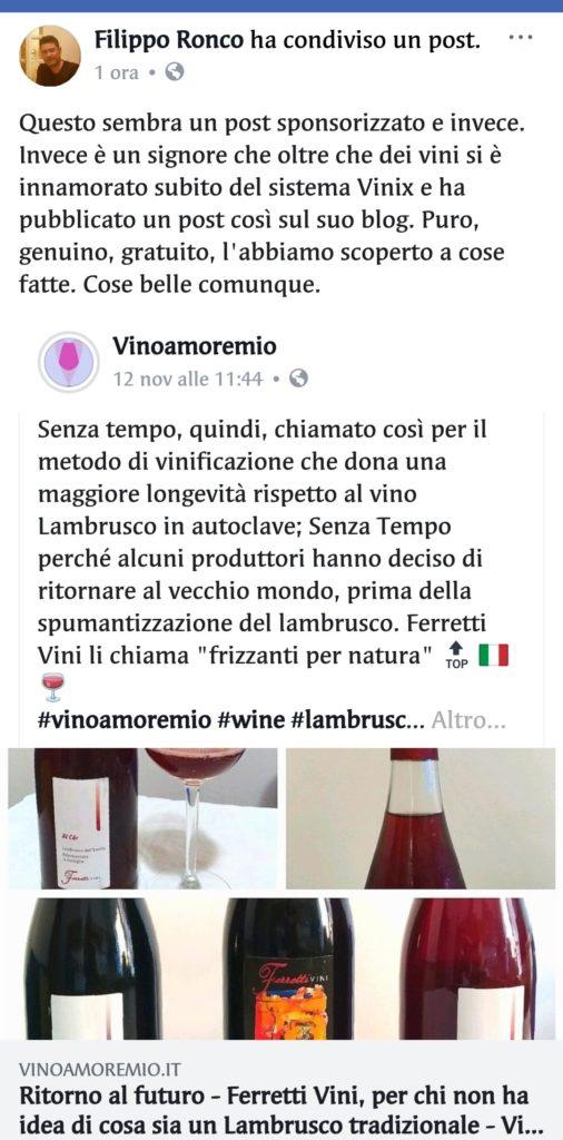 feedback vinoamoremio ronco vinix